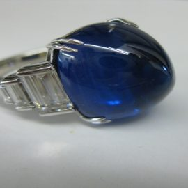Hand made Platinum Sapphire art deco ring