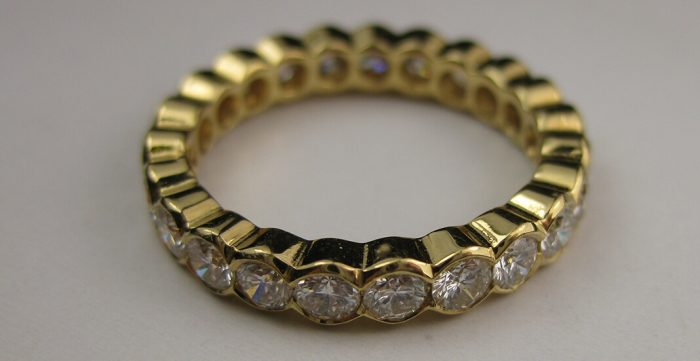 gold diamond vintage eternity ring