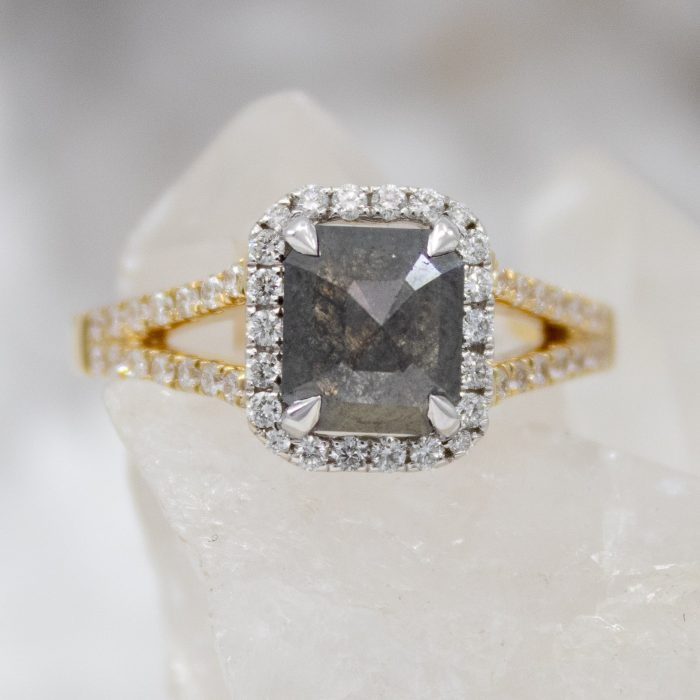 Halo-salt-and-pepper-diamond-engagement-ring