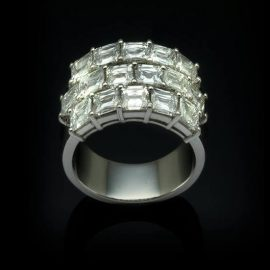 platinum Emerald Cut Ring